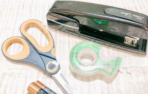 Scissors, tape, stapler,  batteries, Tide pods