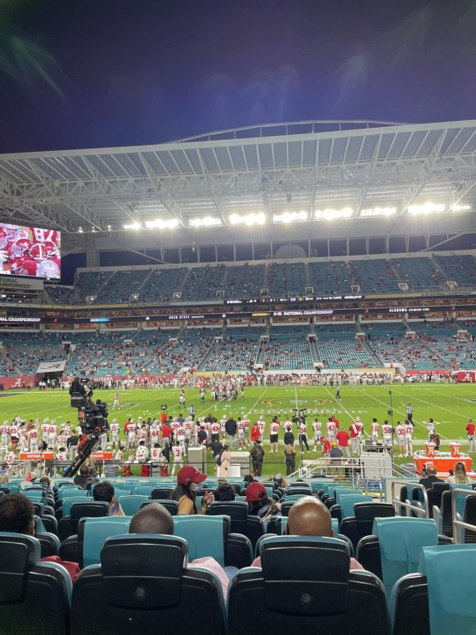 A+look+inside+the+stadium+that+played+host+to+the+National+Championship.+The+capacity+was+limited+to+1%2F5+of+the+normal+standard.