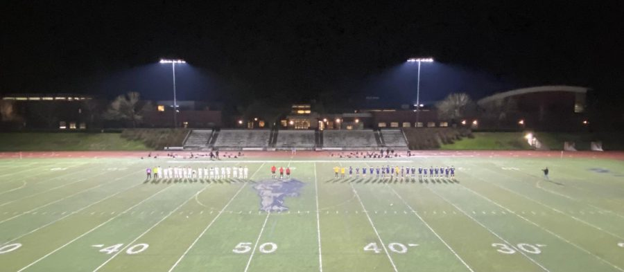 The Wilsonville Wildcats and Putnam Kingsmen lined up for the national anthem. The Kingsmen defeated the Wildcats 1-0.