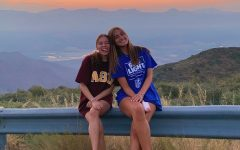 Kylie Aube and her roommate Waverly enjoying the sunset