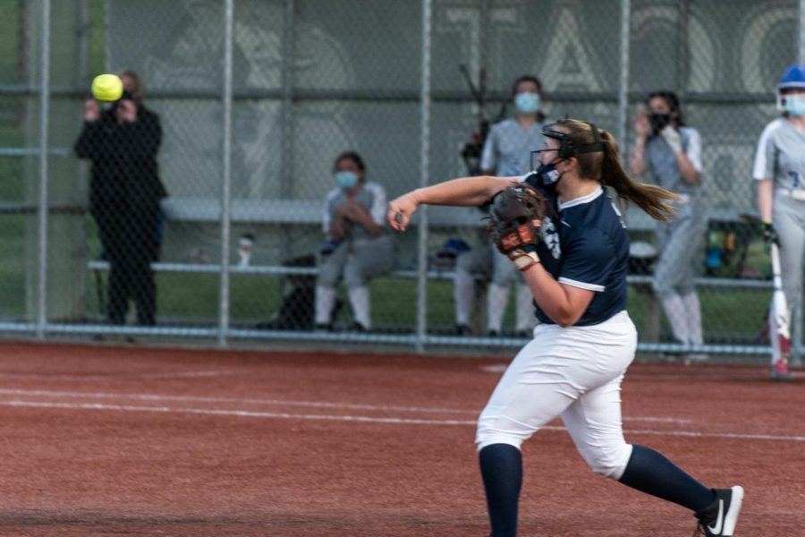 Maddie Erickson (pictured here in the game against Hillsboro) had another strong night on the mound and at the plate.
