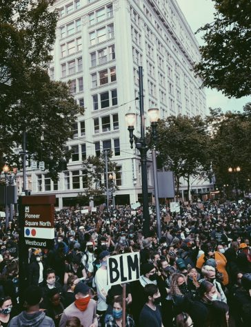 Pictured above is one of the peaceful Portland based Black Lives Matter (BLM) protests that Brennan Martin took part in over the summer.