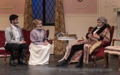 From left to right, senior Cormac Lister, senior Hannah Jacobs, and staff Jason Katz in one of the final scenes of
