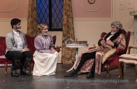 """From left to right, senior Cormac Lister, senior Hannah Jacobs, and staff Jason Katz in one of the final scenes of """"Emma."""" """"Emma"""" opened Wednesday night and runs through Saturday evening."""