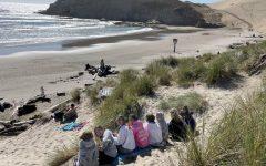 Seniors enjoy their skip day at the beach.