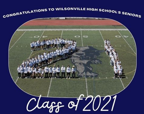 Class of 2021 stand on the main field at Randal Stadium, creating a 21. Photo belongs to WBN