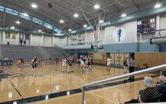 Girls Varsity playing defense against Beaverton.