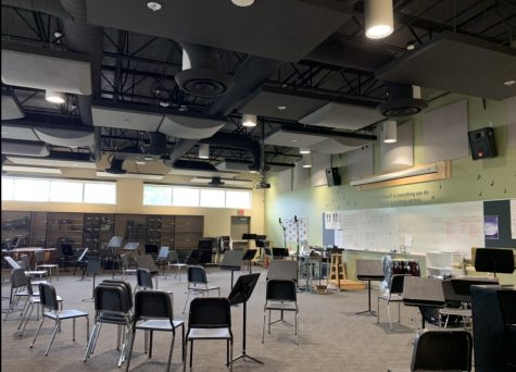 """The empty band room illustrates the cliche, """"calm before the storm."""""""