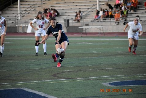Karina Borgen shoots a penalty kick during a game earlier in the season against Westview.