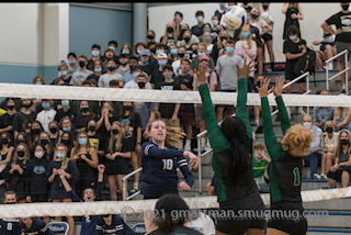 Cats volleyball vs Parkrose with student section in back