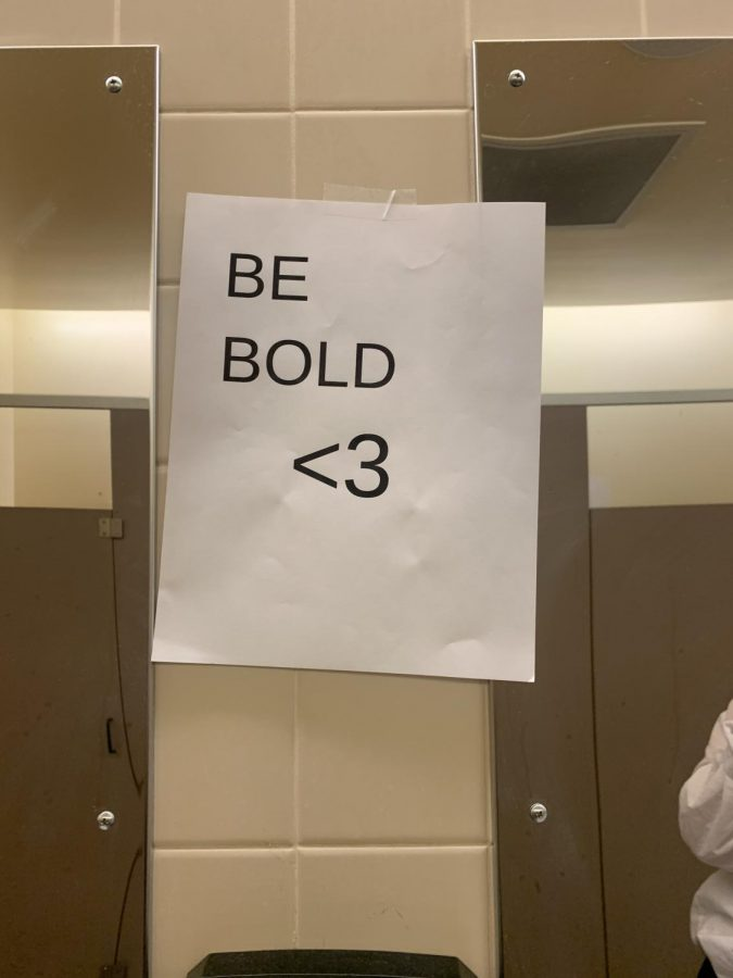 One of the signs found in the girls bathroom!
