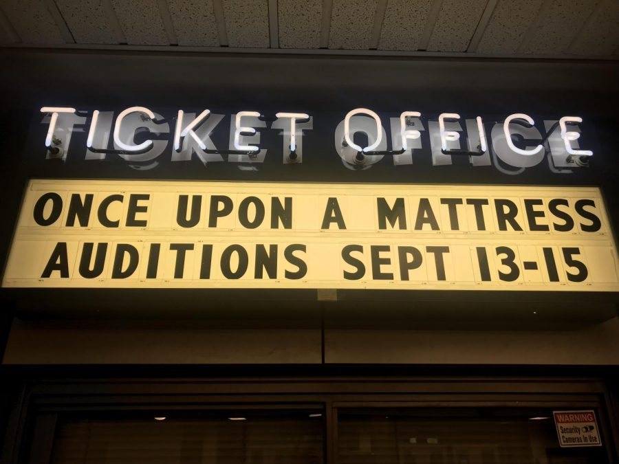 The sign outside WVHSs very own auditorium already showcases the upcoming play!