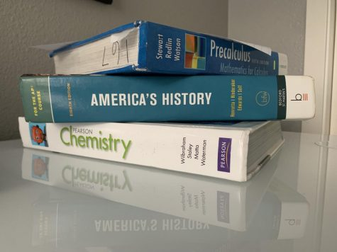 Textbooks piled up. Home work is piling up and getting unmanageable.