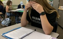 Sophomore Maddie Holly trying to fit in some last-minute studying before a quiz. She had a lot to study for with her chapter ID's also due.